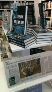 Face in a Book store display, including a laminated copy of the Sacramento Bee article that ran on Sunday!