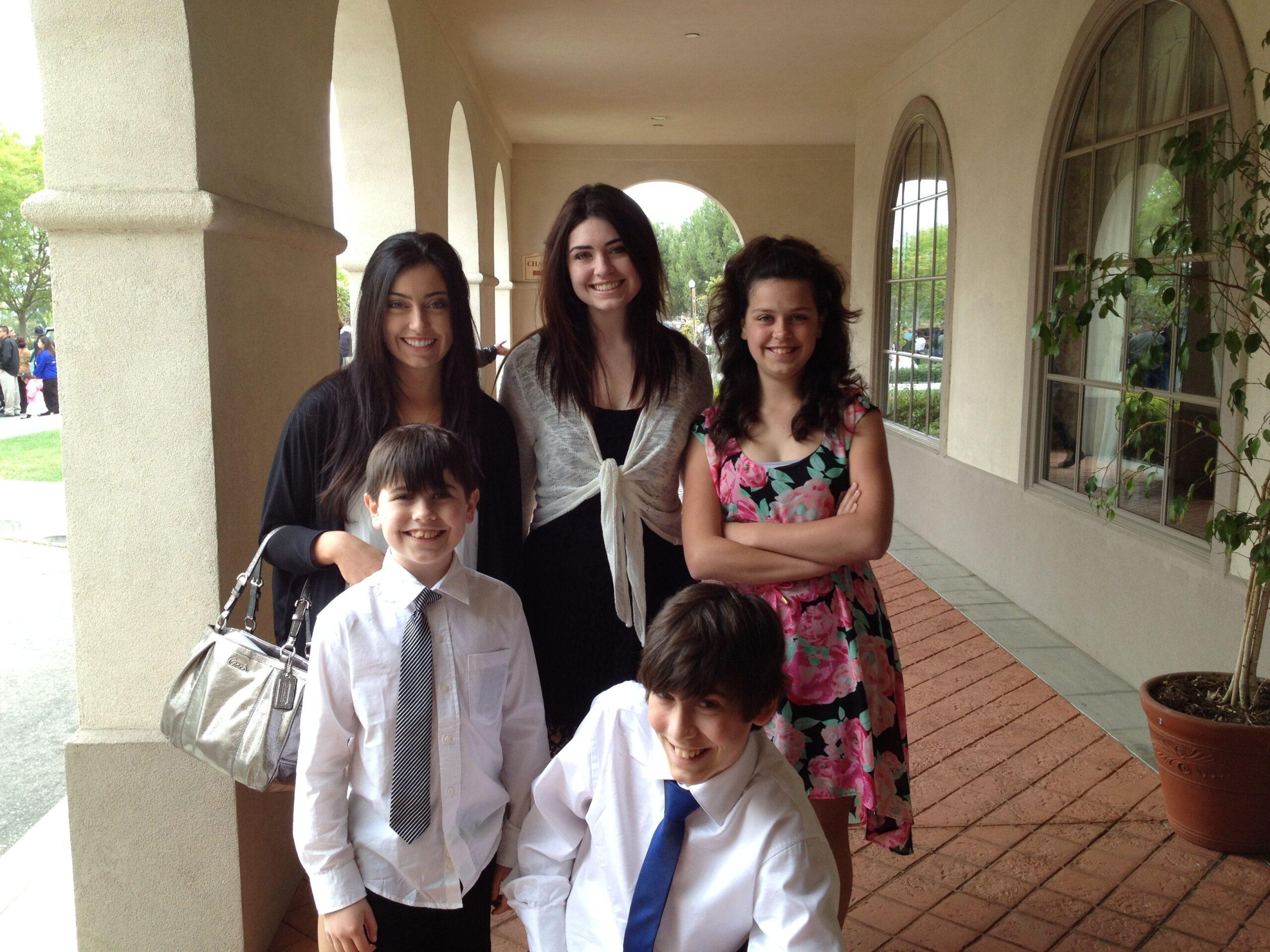 Katie, Kelly, Mary, Mark, Luke at the San Fernando Mission Chapel